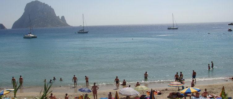 A popular beach in Ibiza, Spain