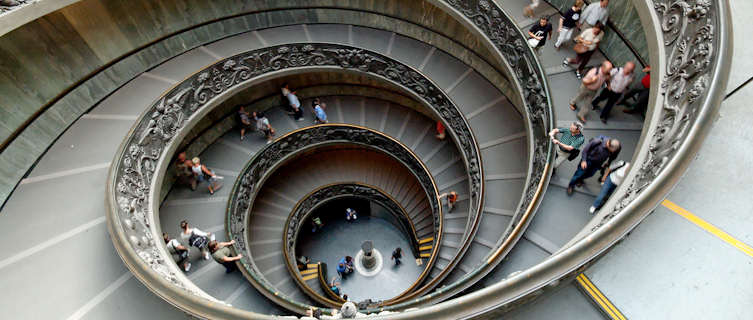 A stairway in the Vatican museums