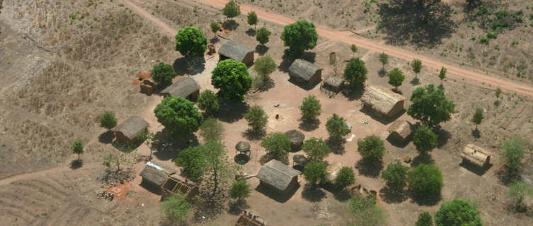 Aerial view of a village, CAR
