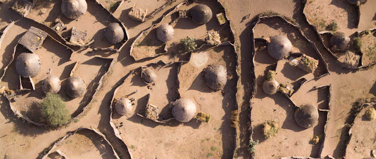 Aerial view of a village, Chad