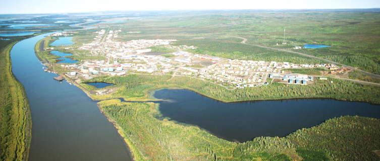 Aerial view of Inuvik in Nunavut, Canada