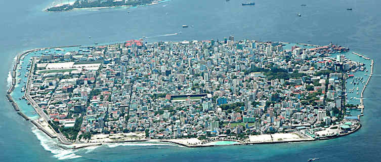 Aerial view of Maldives capital Male