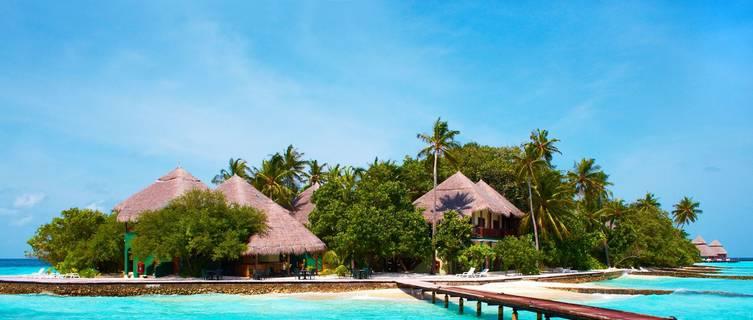 Beach huts in the Maldives