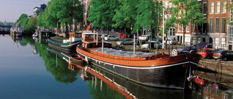 Boats moored in Amsterdam