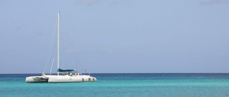 Catamaran moored off Dominican Republic