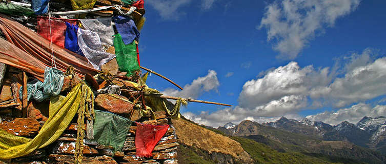 Chorten and prayer flags, Druk Path Trek, Bhutan