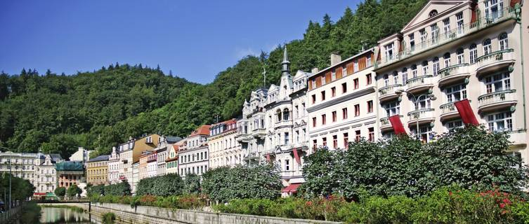 City center in Karlovy Vary, Czech Republic