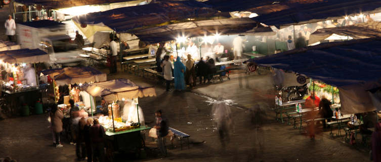 Djemma El Fna Market at night.