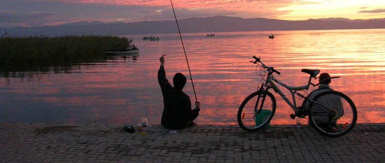 Fishing at Lake Ohrid, Macedonia