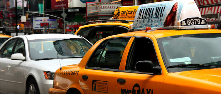 Iconic yellow cabs, Times Square, New York