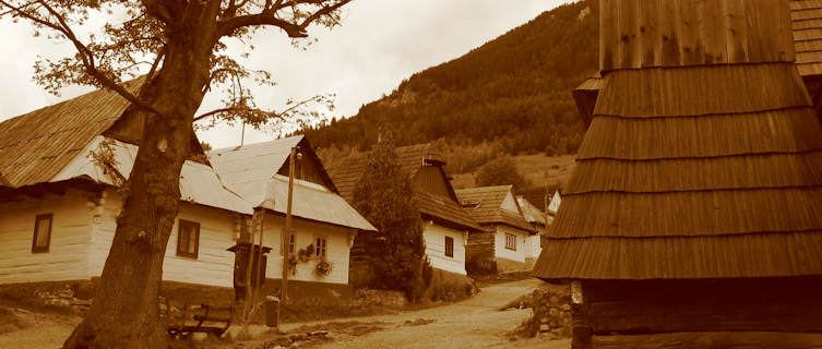 Log cabins preserved at Vlkolinec