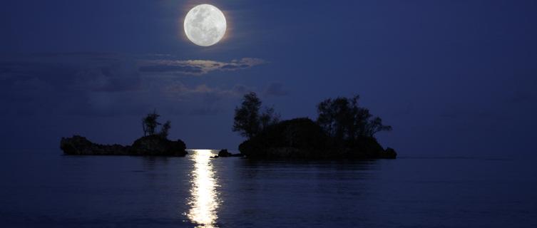 Moonlit seas off Micronesia