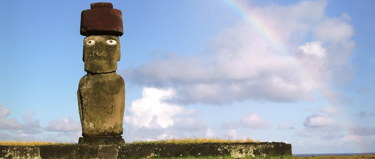 One of Easter Island's mystical statues, Chile