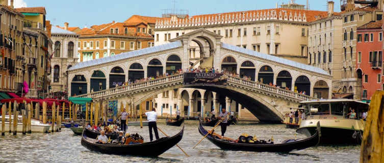 Rialto Bridge and gondolas, Venice