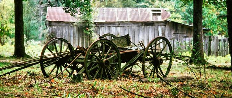 Ruins of a wooden farm cart, Oklahoma