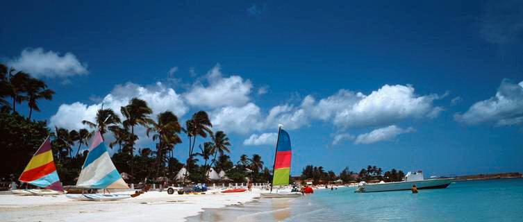 Sailboats on the beach in Antigua