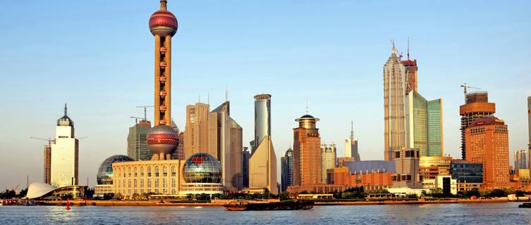 Shanghai Pudong skyline at sunset, China