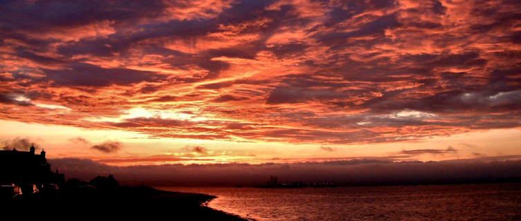 Sunset over a Scottish beach