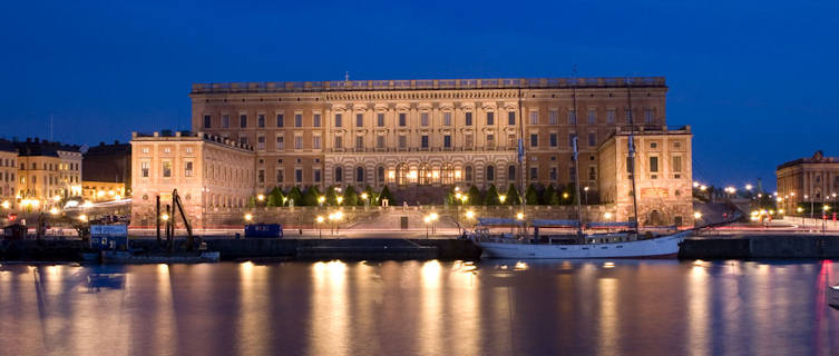 Sweden's Royal Palace at night