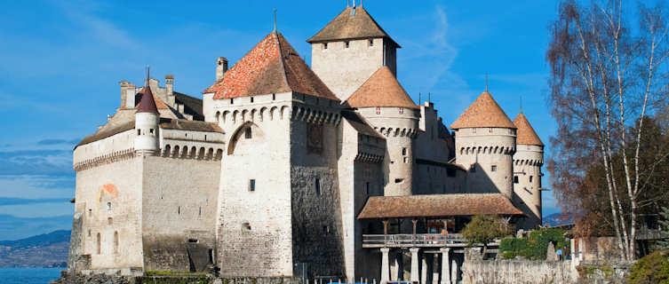 Swiss castle on Lake Geneva