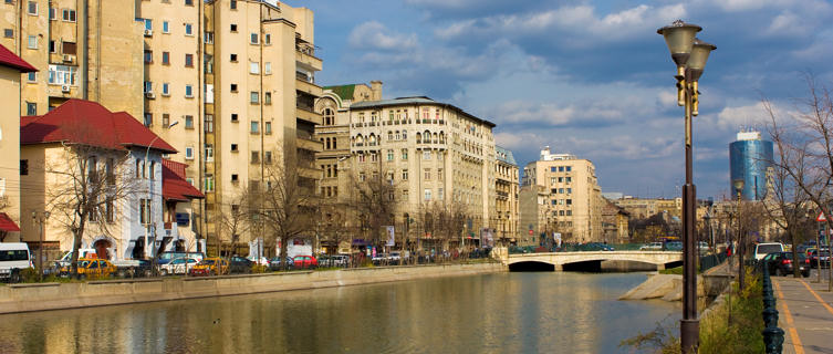The Dambovita flows through the Romanian Capital Bucharest