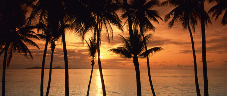 Tropical island sunset in Micronesia