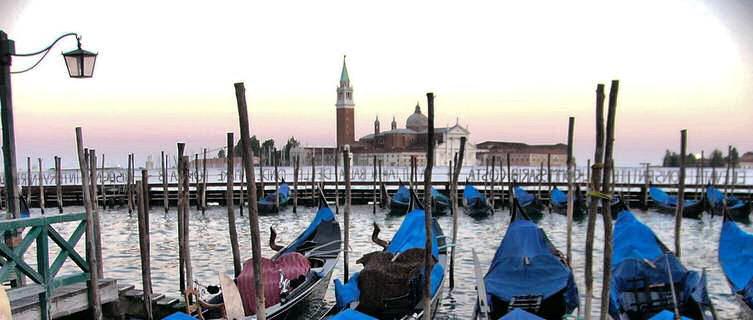 Venice sunset and gondolas